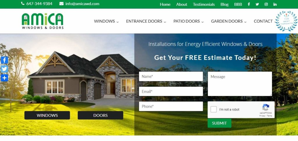 AMICA Windows and Doors' Homepage